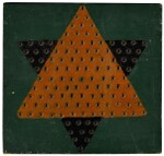 AMERICAN CARVED AND POLYCHROME-PAINTED WOODEN CHINESE CHECKERS GAMEBOARD, CIRCA 1915