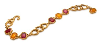 View 1. Thumbnail of Lot 4. RED AND ORANGE GRIPOIX AND GOLD-TONE METAL BELT, CHANEL.
