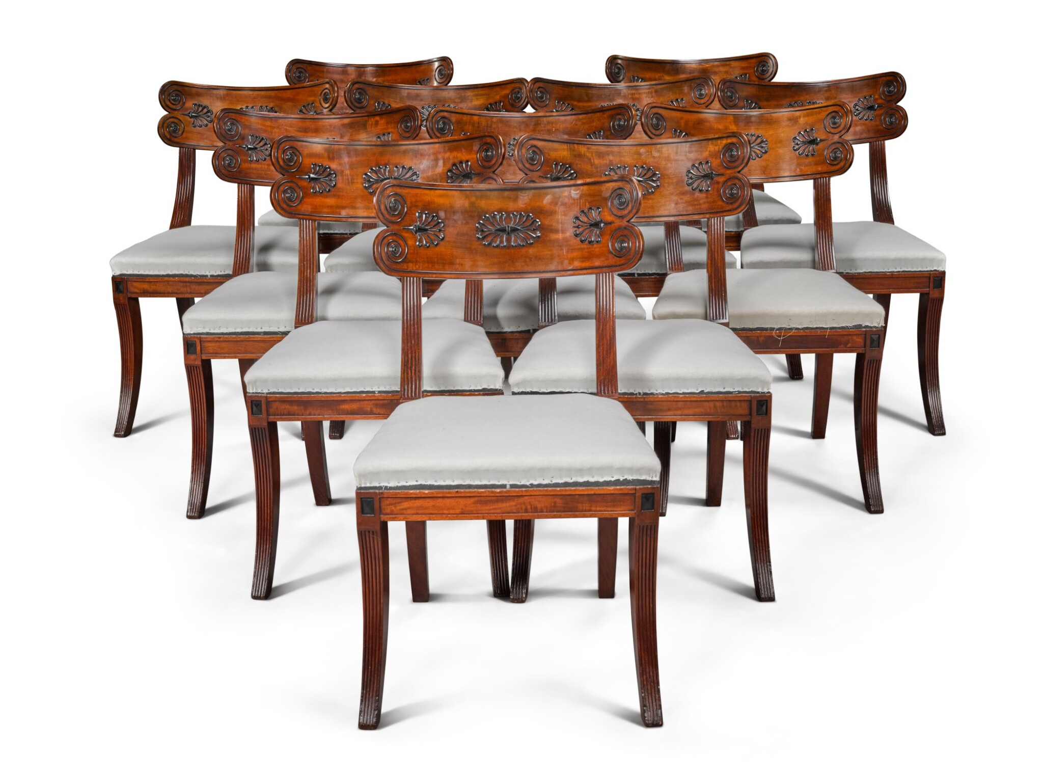 View full screen - View 1 of Lot 158. A set of twelve Regency mahogany and ebony 'Klismos' dining chairs, circa 1815, after a design by Thomas Hope.