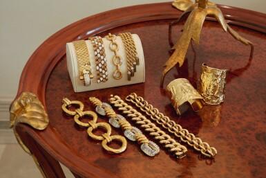 View 3. Thumbnail of Lot 223. Gold, Diamond and Enamel 'Ludo Hexagone' Bracelet, France.