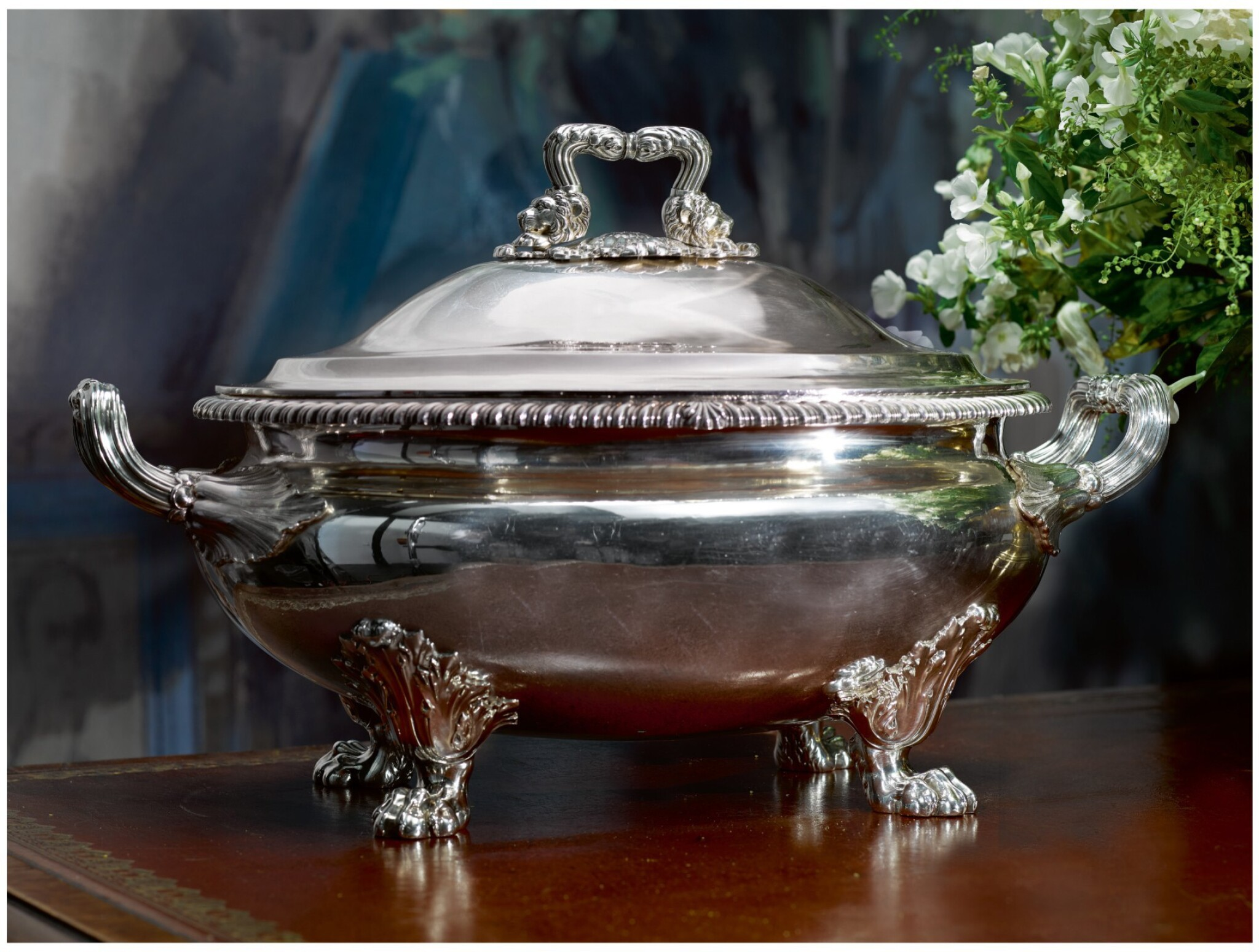 View full screen - View 1 of Lot 25. A REGENCY SILVER SOUP TUREEN AND COVER, PAUL STORR, LONDON, 1819.