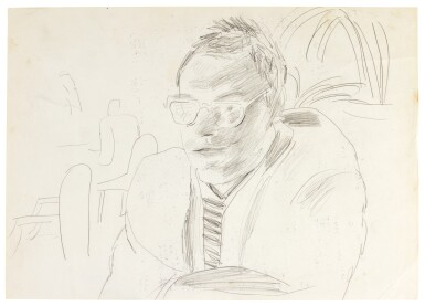 DAVID HOCKNEY, R.A. | PORTRAIT OF DAVID GRAVES ON LANGAN'S MENU