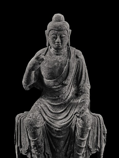 View 6. Thumbnail of Lot 585. A BRONZE FIGURE OF BUDDHA,  TANG DYNASTY.