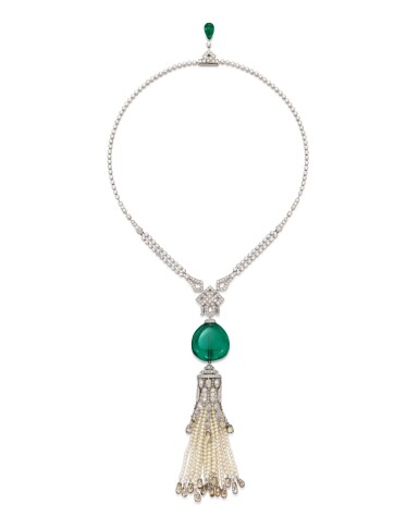 View 1. Thumbnail of Lot 1737. Cartier | Emerald, Seed Pearl and Diamond Pendent Necklace | 卡地亞 | 42.09克拉「哥倫比亞」祖母綠 配 珍珠 及 鑽石 項鏈.
