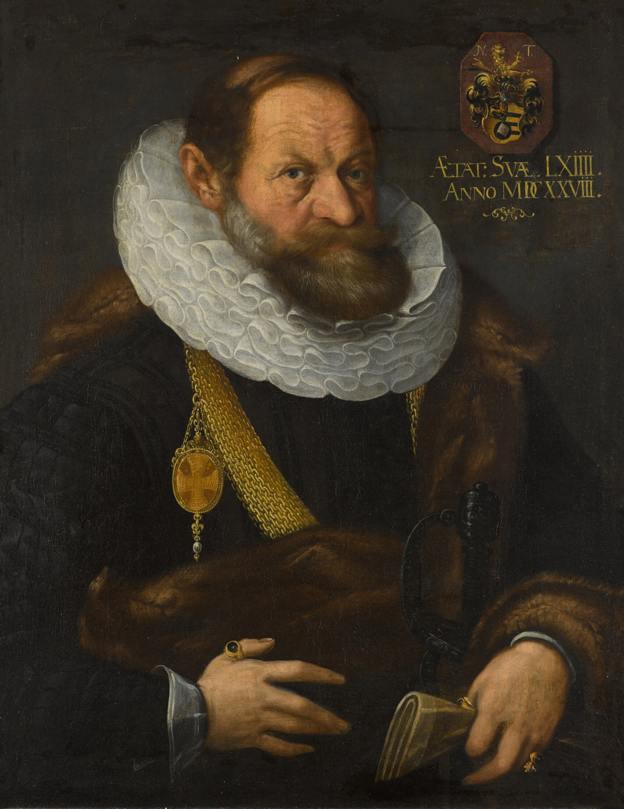 View full screen - View 1 of Lot 44. Portrait of Nikolaus Tritt von Wilderen (1564 - between 1628/35), half-length, wearing black with a fur mantle, ruff and gold chain, holding his gloves.