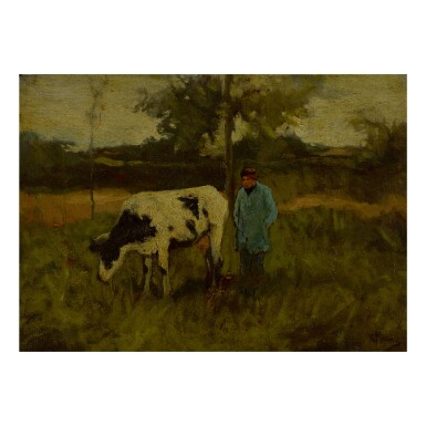 STYLE OF ANTON MAUVE | MAN AND COW IN A PASTURE