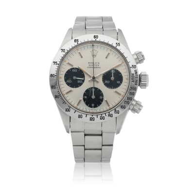 View 1. Thumbnail of Lot 426. 'Sigma Dial' Daytona, Ref. 6265 Stainless steel chronograph wristwatch with bracelet Circa 1973 | 勞力士 6265型號「'Sigma Dial' Daytona」精鋼計時鍊帶腕錶,年份約1973.
