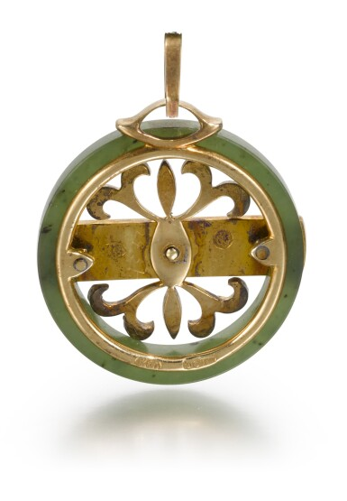 View 2. Thumbnail of Lot 69. A Fabergé jewelled gold-mounted and guilloché enamelled nephrite pendant, Moscow, 1899-1908.