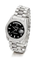 ROLEX | DAY-DATE, REFERENCE 1803, A WHITE GOLD AND DIAMOND-SET WRISTWATCH WITH DAY, DATE, BRACELET AND LATER RODIUM-PLATED BEZEL, CIRCA 1982