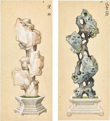 View 2. Thumbnail of Lot 361. A SET OF SIX PAINTINGS OF SCHOLAR'S ROCKS QING DYNASTY, 19TH CENTURY | 清十九世紀 《賞石圖》一組六幅.