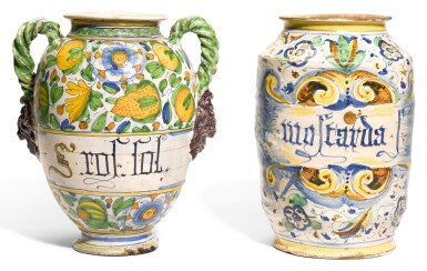 AN ITALIAN MAIOLICA TWO-HANDLED DRUG JAR AND AN ITALIAN MAIOLICA STORAGE JAR, CIRCA 1580 AND 1615