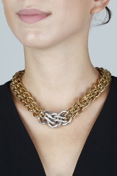 View 4. Thumbnail of Lot 153. GOLD AND DIAMOND NECKLACE.