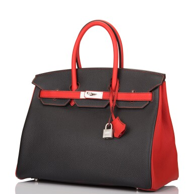 View 4. Thumbnail of Lot 43. HERMÈS   HORSESHOE STAMPED (HSS) BICOLOR BLACK AND VERMILLION BIRKIN 35CM OF TOGO LEATHER WITH BRUSHED PALLADIUM HARDWARE.