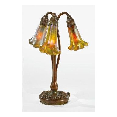 "TIFFANY STUDIOS | THREE-LIGHT ""LILY"" TABLE LAMP"