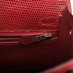 Hermès Rouge H Sellier Kelly 25cm of Shiny Niloticus Lizard with Palladium Hardware