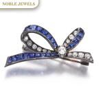 Sapphire and diamond brooch, late 19th century | 藍寶石配鑽石別針,十九世紀末
