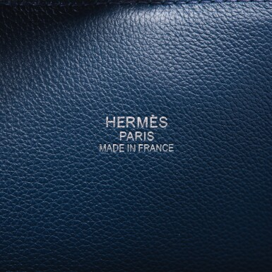 View 7. Thumbnail of Lot 17. Hermès Baseball Bolide 45cm in Bleu de Malte Evercolor Leather with Palladium Hardware.