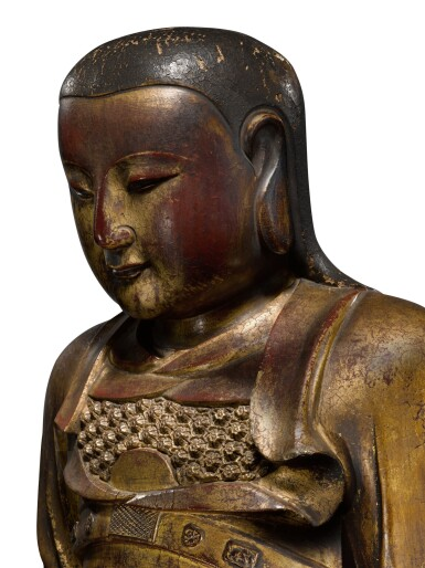 View 5. Thumbnail of Lot 225. A large gilt-lacquered wood figure of Zhenwu, Ming dynasty   明 木漆金真武坐像.