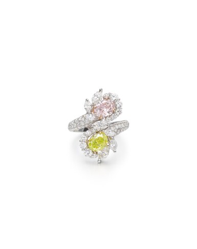View 1. Thumbnail of Lot 1608. COLOURED DIAMOND AND DIAMOND RING | 彩色鑽石 配 鑽石 戒指 (彩色鑽石共重2.17卡拉).