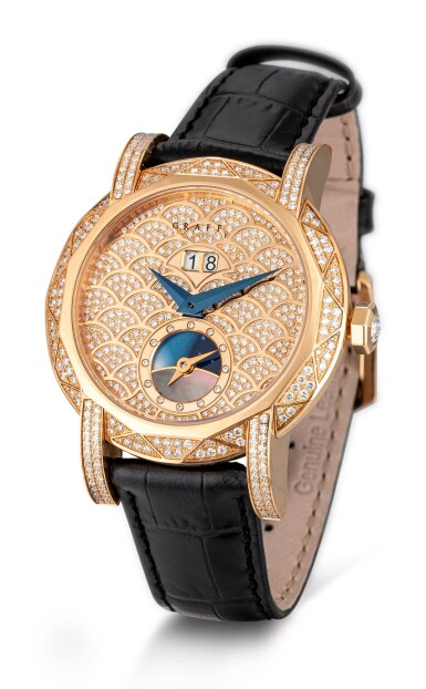 View 2. Thumbnail of Lot 1076. 'Graff Star Automatic Icon' Reference GSA38PGDL, 12 Limited Edition Pink Gold and Diamond-Set Automatic Wristwatch with Date, Day and Night Indication Combined with Dual Time Function | 格拉夫| Graff Star Automatic Icon編號GSA38PGDL 12,限量版粉红金镶鑽石自動上鏈兩地時區腕錶備日期及晝夜顯示,約2010年製.