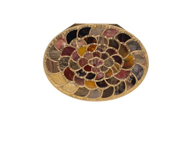 View 8. Thumbnail of Lot 12. A very rare gold and pietra dura 'Steinkabinett', complete with secret compartment and explanatory booklet, Christian Gottlieb Stiehl, Dresden, circa 1770.