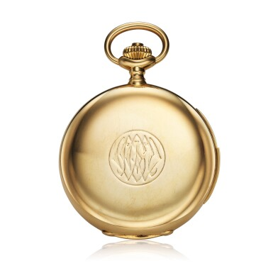 View 2. Thumbnail of Lot 98. Retailed By Spaulding & Co.: A yellow gold minute repeating hunting cased watch, Made in 1903.