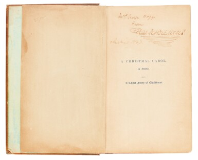 Dickens, A Christmas Carol, 1843, first edition, inscribed to Mrs George Hogg at Christmas
