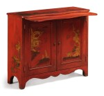 A PAIR OF RED JAPANNED SIDE CABINETS, ONE 19TH CENTURY, THE OTHER A LATER COPY