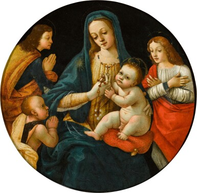 View 1. Thumbnail of Lot 10. MICHELANGELO DI PIETRO MEMBRINI, FORMERLY KNOWN AS THE MASTER OF THE LATHROP TONDO     MADONNA AND CHILD, WITH THE INFANT SAINT JOHN AND TWO SAINTS.