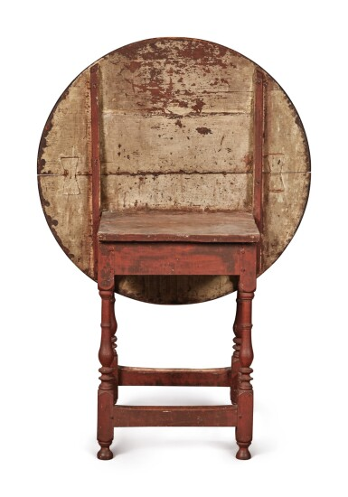 View 3. Thumbnail of Lot 1. William and Mary Red-Painted Maple and Pine Tilt-Top Tavern Table, New England, circa 1730.
