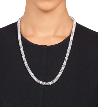 View 1. Thumbnail of Lot 498. Diamond Necklace-Bracelet Combination.