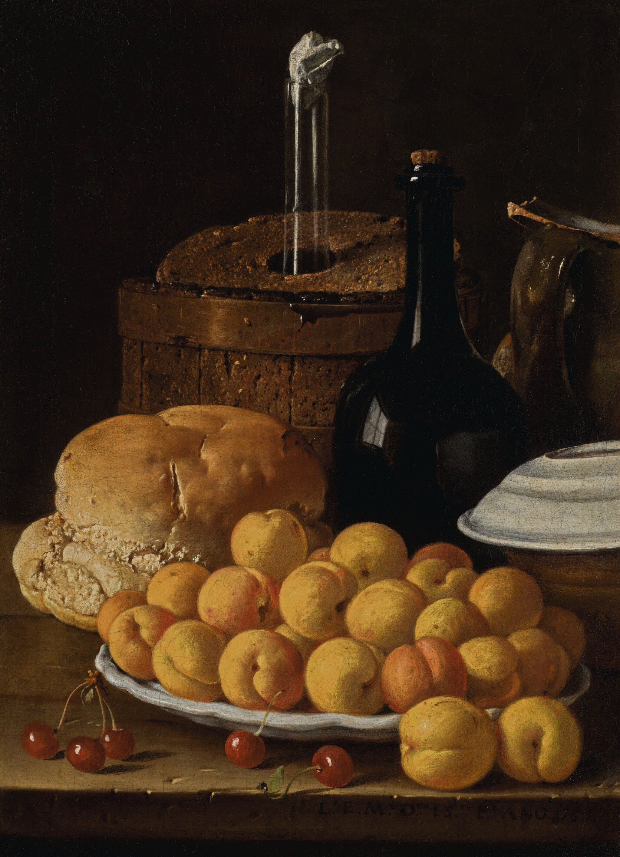 View full screen - View 1 of Lot 33. LUIS MELÉNDEZ | Still life with a plate of apricots, cherries, bread, a wine cooler and receptacles | 路易斯・梅蘭戴斯 | 《靜物:碟子上的杏桃、櫻桃、麵包、冰酒器與器皿》.