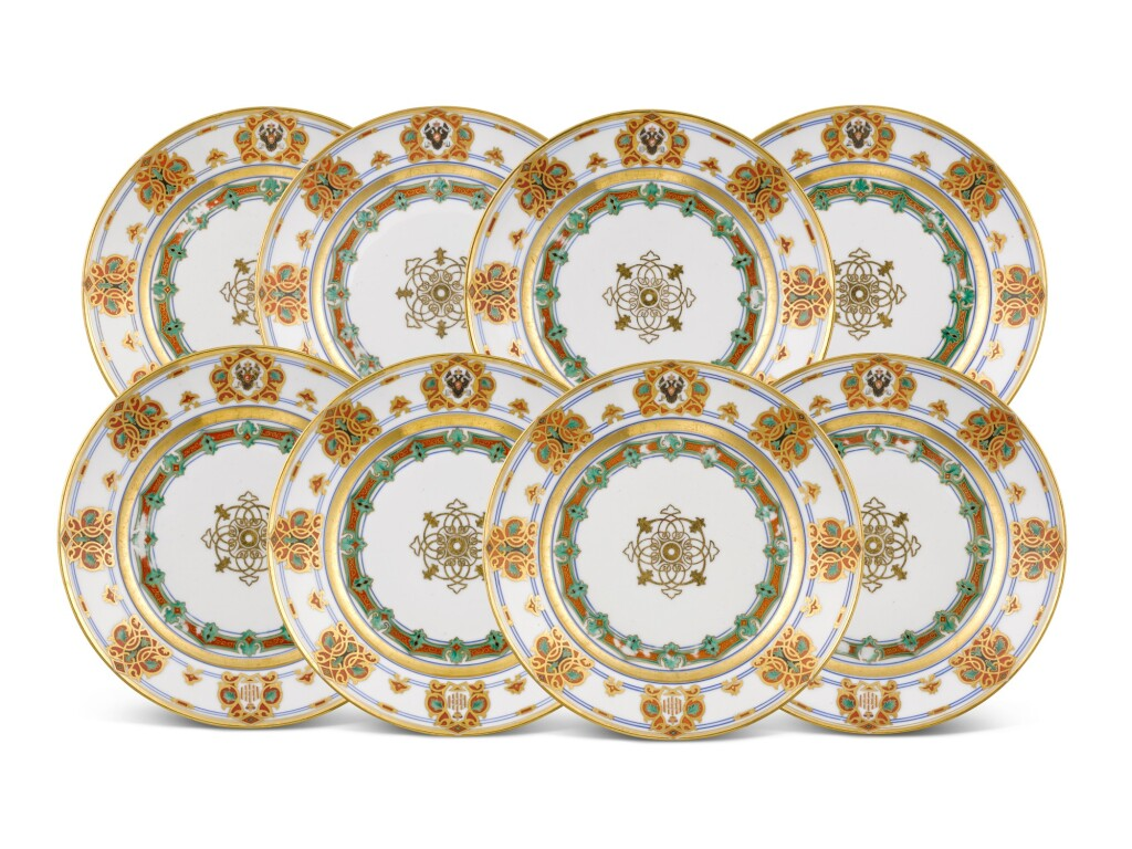 A SET OF EIGHT PORCELAIN PLATES FROM THE SERVICE OF GRAND DUKE KONSTANTIN NIKOLAEVICH, IMPERIAL PORCELAIN FACTORY, ST PETERSBURG, PERIOD OF NICHOLAS I (1825-1855), 1848-1852