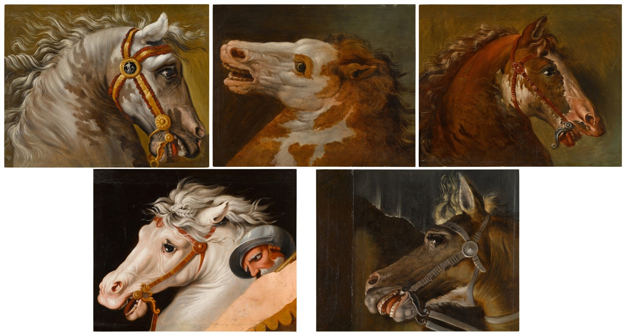 View full screen - View 1 of Lot 49. AUGUSTE-JEAN-BAPTISTE VINCHON  |  FIVE STUDIES OF HORSES' HEADS, AFTER RAPHAEL'S FRESCOES IN THE STANZE VATICANE.
