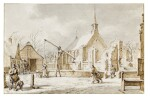 The Month of December: View of a Village in the Snow