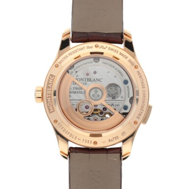View 5. Thumbnail of Lot 422. EXOTOURBILLON MINUTE CHRONOGRAPH, REF 7353 PINK GOLD TOURBILLON CHRONOGRAPH WRISTWATCH WITH DATE, MOTHER-OF-PEARL AND DIAMOND-SET PINK GOLD VACHERON CONSTANTIN CUFFLINKS AND MATCHING ACCOUTREMENTS CIRCA 2015.