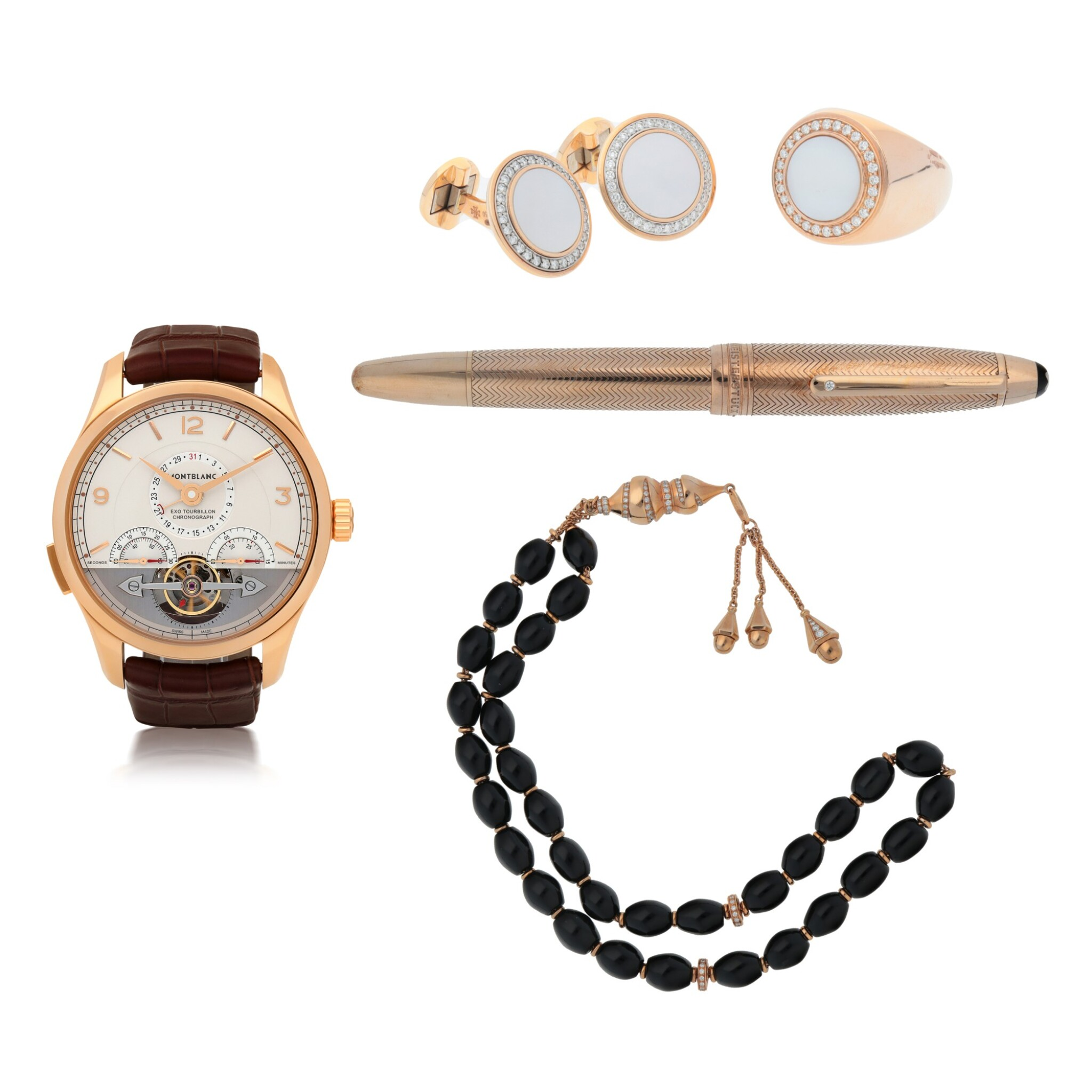 View full screen - View 1 of Lot 422. EXOTOURBILLON MINUTE CHRONOGRAPH, REF 7353 PINK GOLD TOURBILLON CHRONOGRAPH WRISTWATCH WITH DATE, MOTHER-OF-PEARL AND DIAMOND-SET PINK GOLD VACHERON CONSTANTIN CUFFLINKS AND MATCHING ACCOUTREMENTS CIRCA 2015.