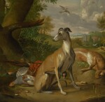 ENGLISH SCHOOL, 18TH CENTURY |  A SPORTING STILL LIFE WITH A GREYHOUND SURROUNDED BY GAME IN A LANDSCAPE