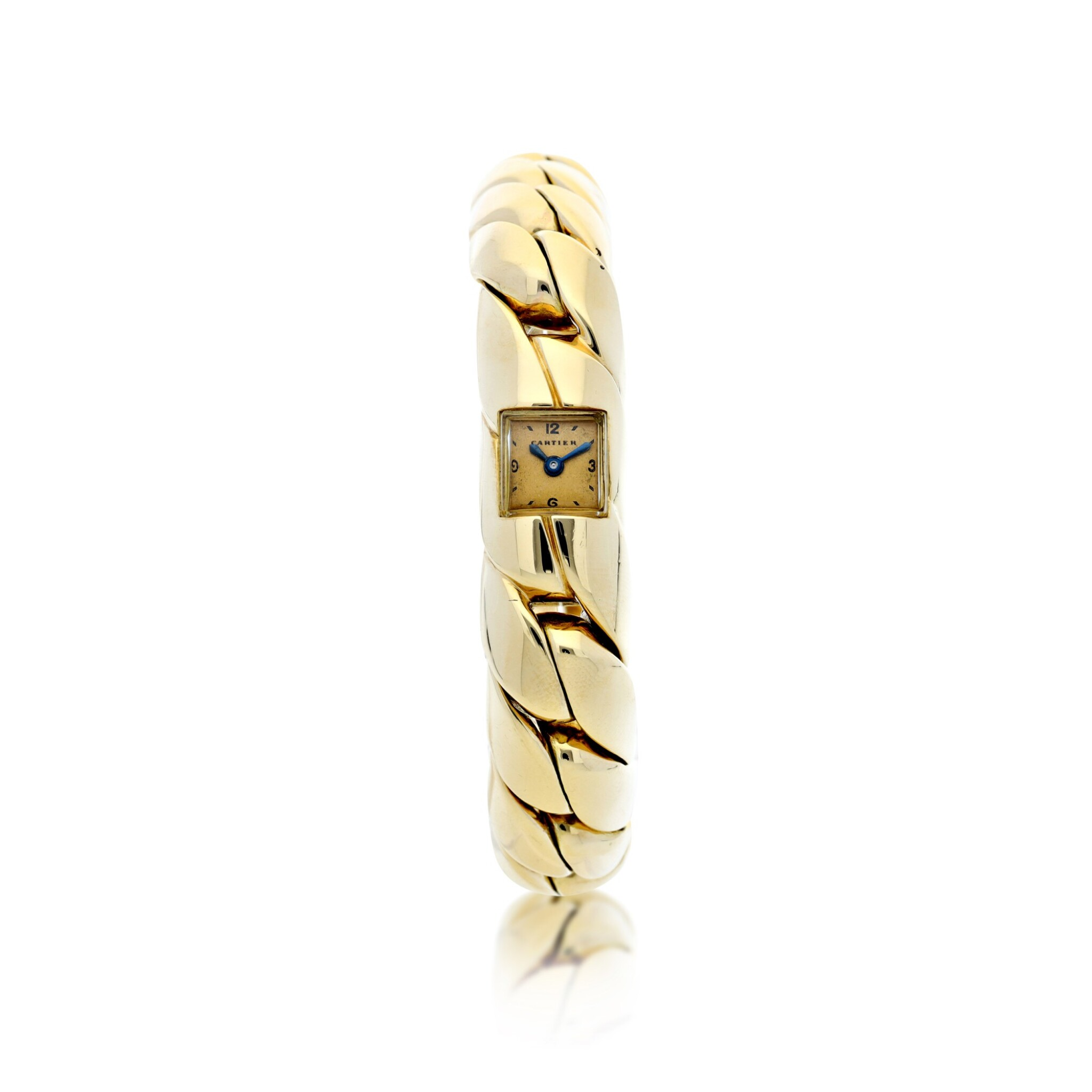View full screen - View 1 of Lot 104. A YELLOW GOLD BRACELET WATCH, CIRCA 1940.