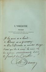 """L'Orestie. 1856. Ed. originale. Rare exemplaire sur papier bleu, avec envoi """"à la mort et à l'exil..."""""""