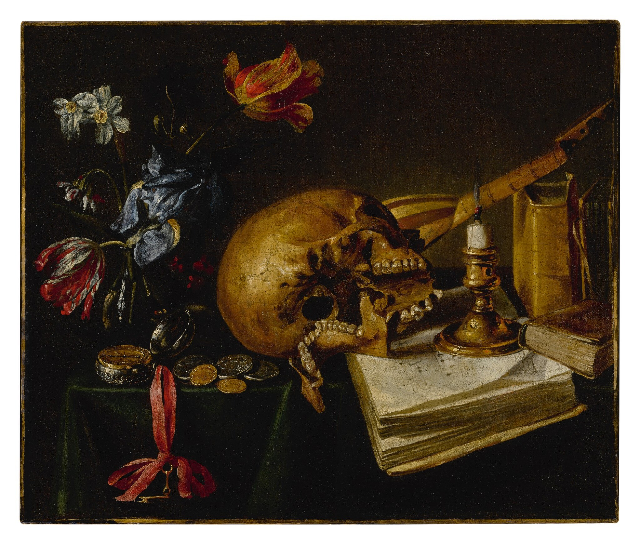 View full screen - View 1 of Lot 639. A still life with a skull, a music book, a snuffed-out candle, a bouquet of dying flowers and other vanitas objects on a table.