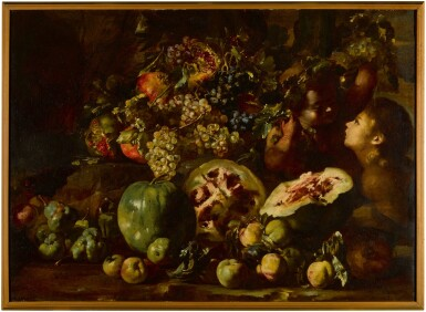 View 2. Thumbnail of Lot 123. Still life with watermelons, grapes, apples, pomegranates and other fruits, with two children.
