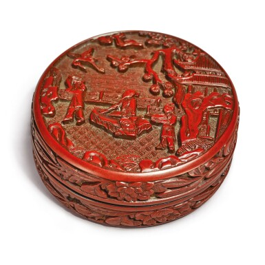 View 1. Thumbnail of Lot 630. A SMALL CARVED CINNABAR LACQUER 'SCHOLAR' CIRCULAR BOX AND COVER,  XUANDE MARK AND PERIOD.