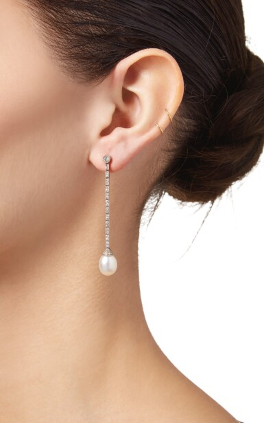 View 2. Thumbnail of Lot 181. PAIR OF NATURAL PEARL AND DIAMOND EARRINGS.