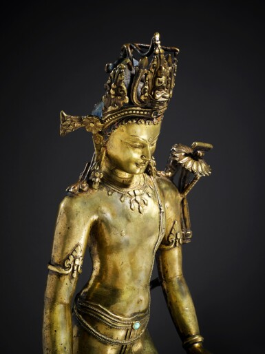 View 4. Thumbnail of Lot 326. An Important Copper Alloy Figure of Manjushri Central, Tibet, 12th/13th Century .