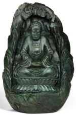 A SPINACH-GREEN JADE 'BUDDHA IN A GROTTO' GROUP LATE QING DYNASTY | 晚清 碧玉坐佛山子