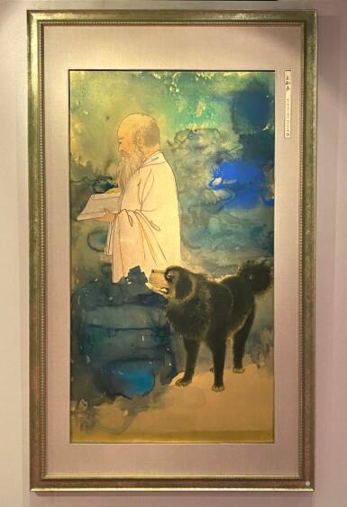 View 2. Thumbnail of Lot 8003. Zhang Daqian, Self Portrait with a Tibetan Mastiff ︳張大千  自畫像與黑虎.