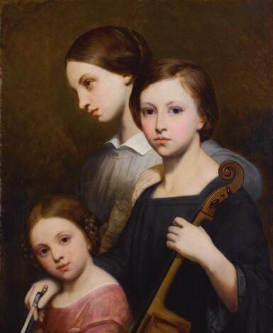 View 1. Thumbnail of Lot 676. Portrait of René, Cécile and Louise Franchomme.