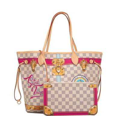 View 1. Thumbnail of Lot 213. Louis Vuitton Damier Azur St. Tropez Summer Trunk Neverfull MM of Coated Canvas and Vachetta Leather Trim with Polished Golden Brass Hardware.