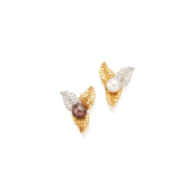 PAIR OF GOLD, CULTURED PEARL AND DIAMOND EARCLIPS, TIFFANY & CO., FRANCE